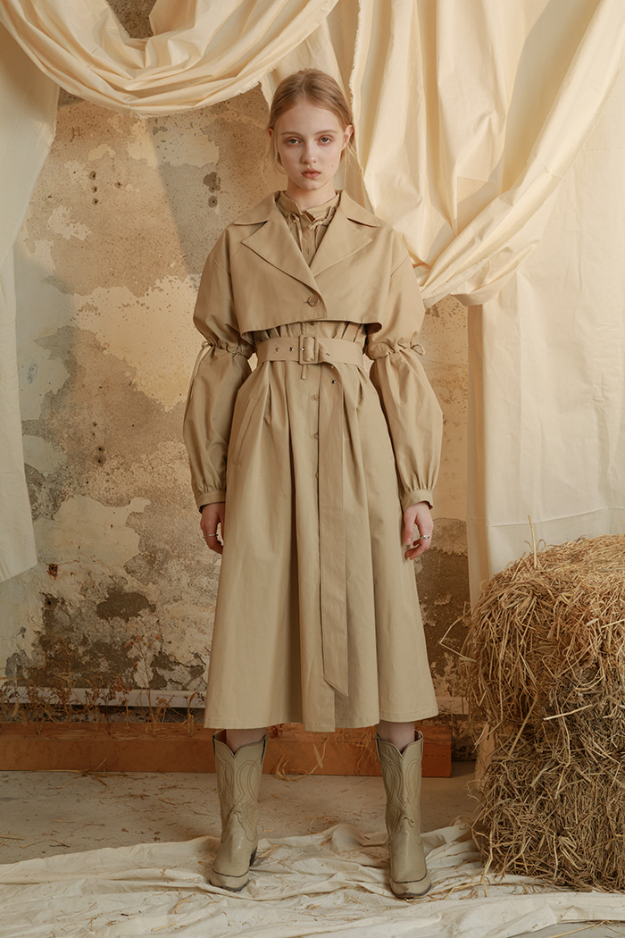 layered trench coat (beige & black)