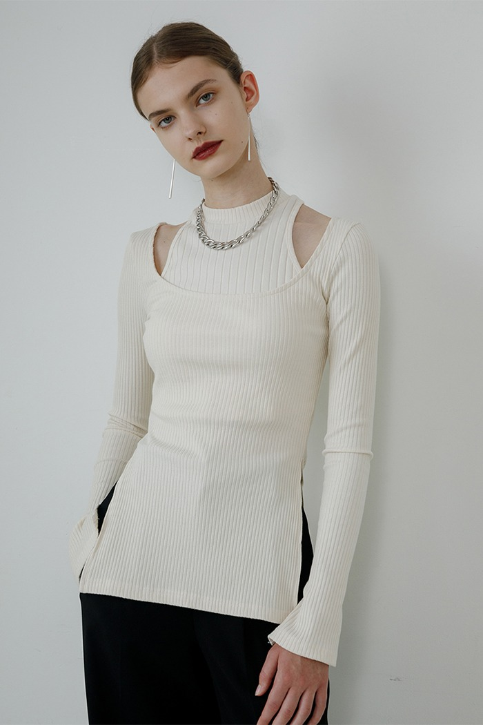 Layered T-shirt set (ivory)