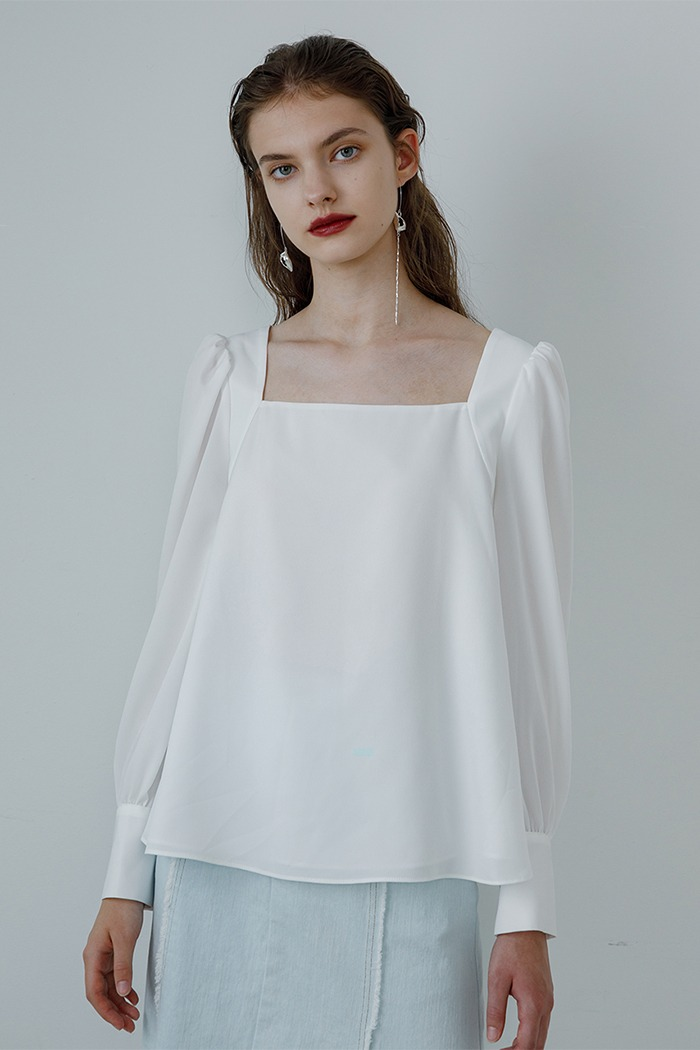 Square neck blouse (white)