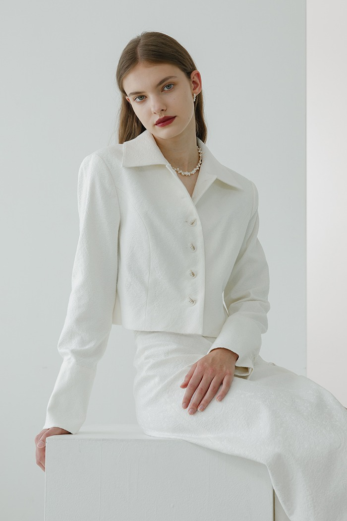 jacquard crop jacket (white)