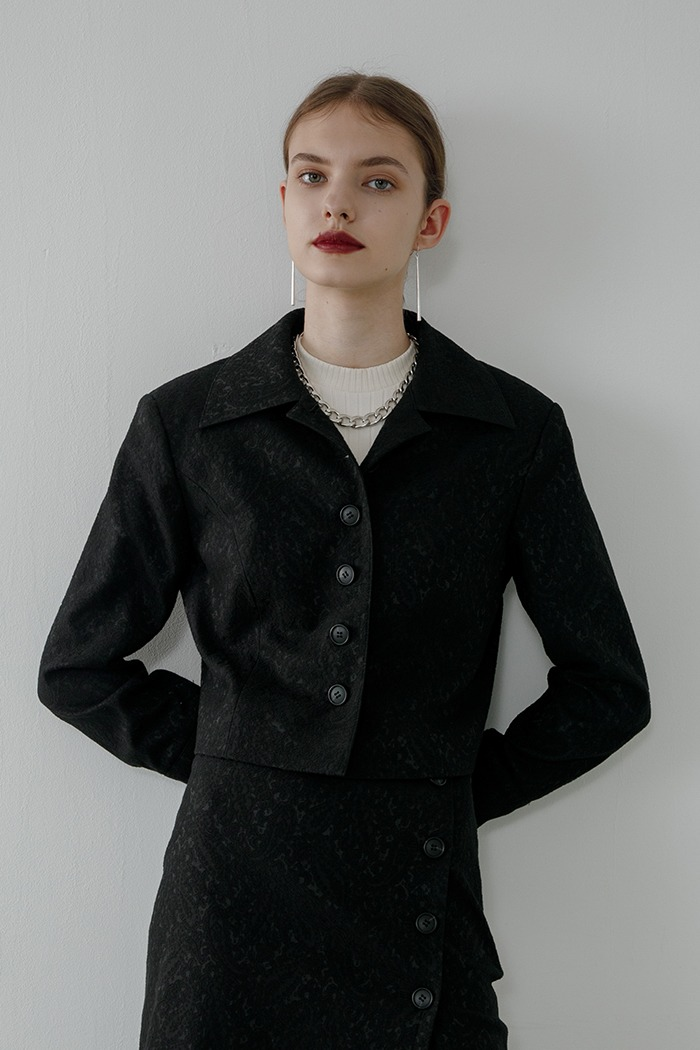 jacquard crop jacket (black)