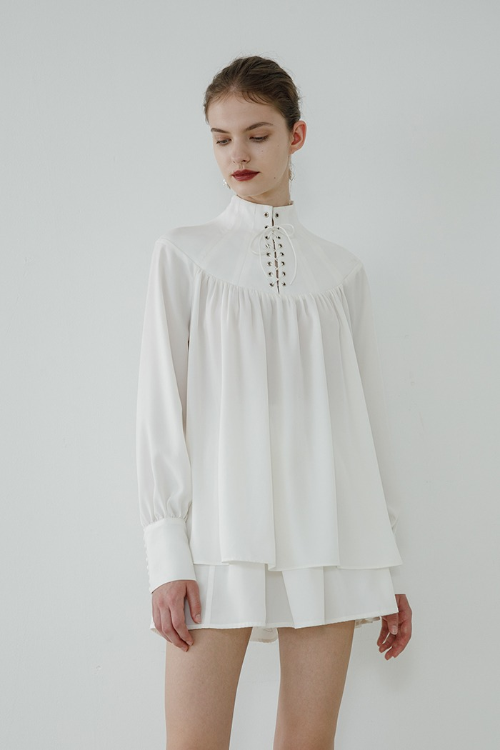 eyelet shirring blouse (ivory)