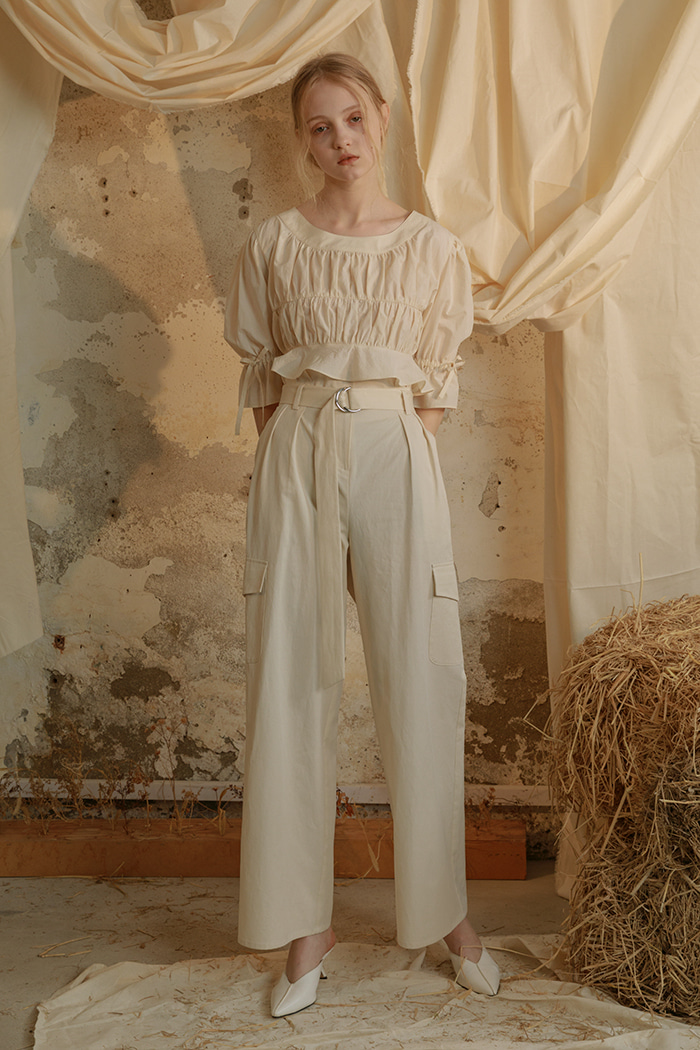 high waist tuck pants (ivory)