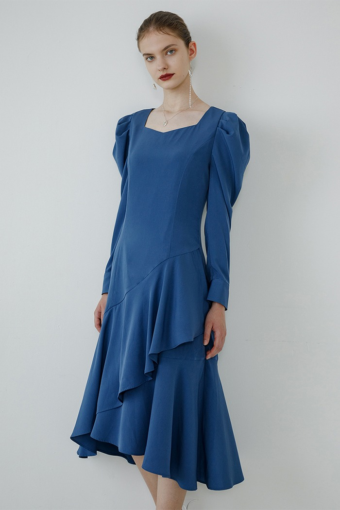 Unbalanced frill dress (deep blue)