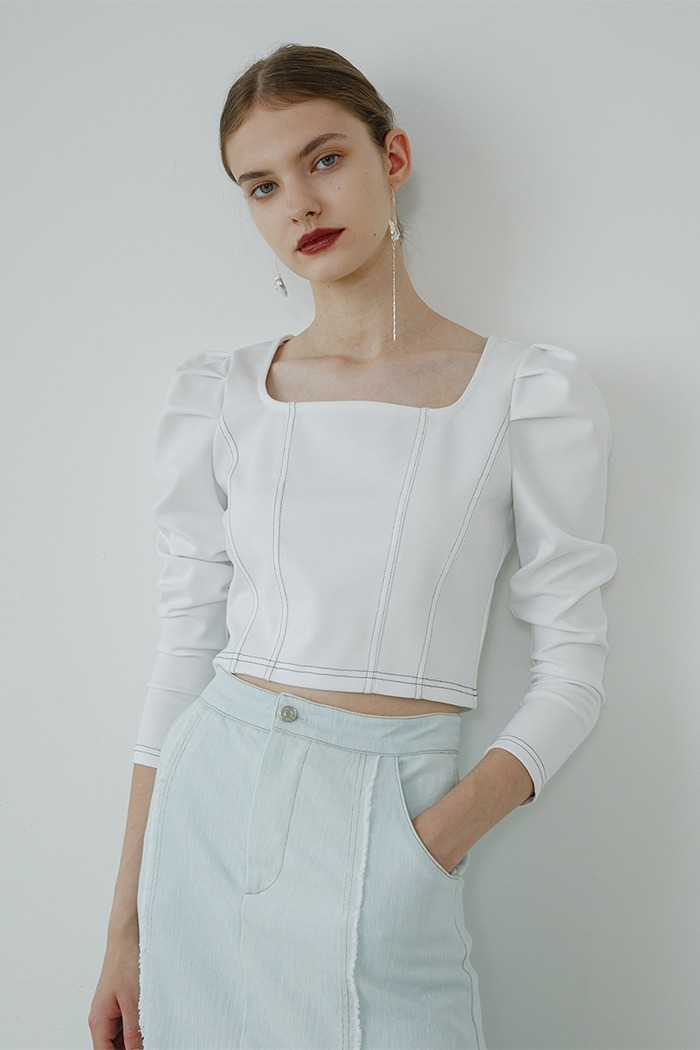 Puff knit top (white)