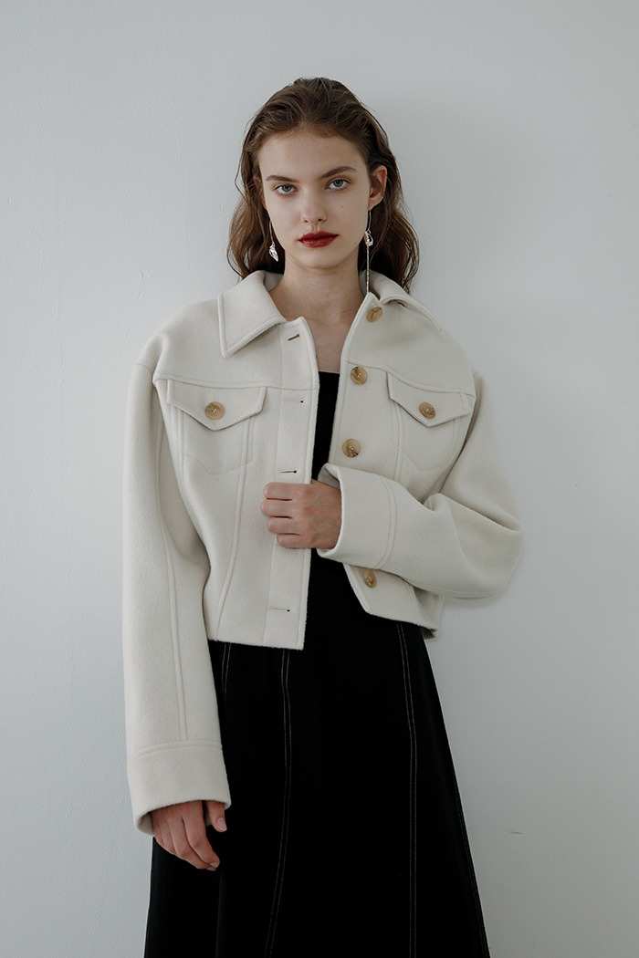 wool short jacket (cream)
