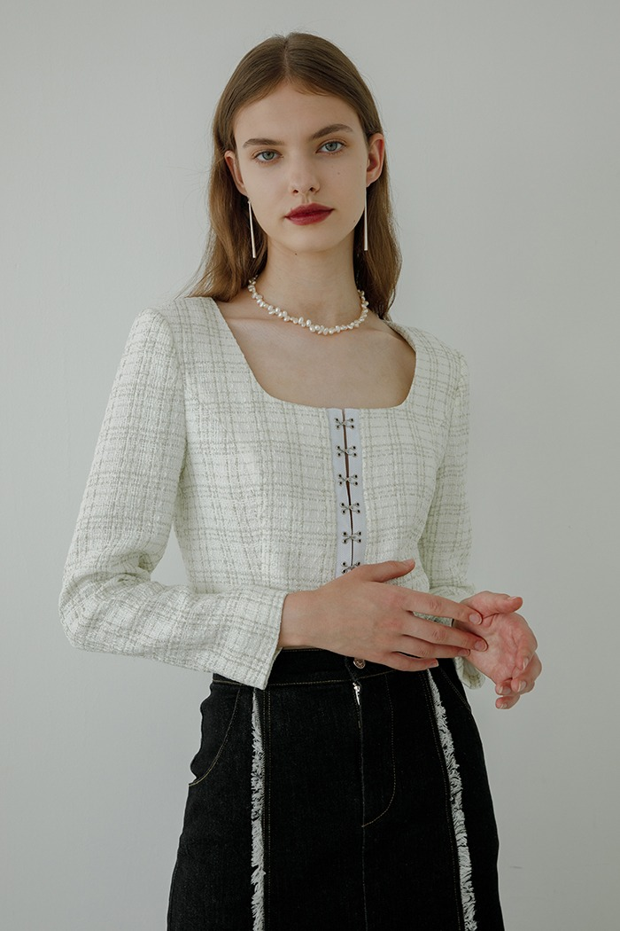 tweed hook top (white)