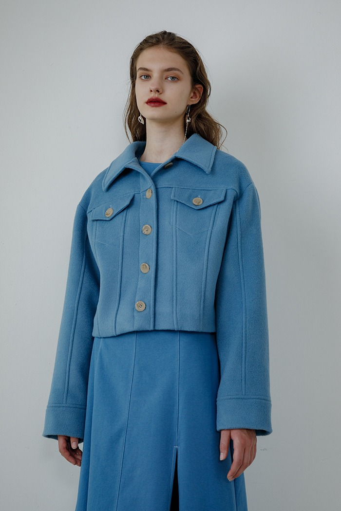 wool short jacket (blue)